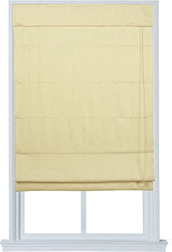 Linen Fabric Roman Shade with Liner Ivory 39 in. W x 64 in. L