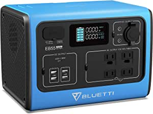 BLUETTI EB55 Portable Power Station 700W 537Wh LiFePO4 Battery Pack Solar Generator with 4 AC Outlets, 100W USB-C, Regulated 12V DC, Emergency Backup Power for Outdoor Camping Home Vanlife