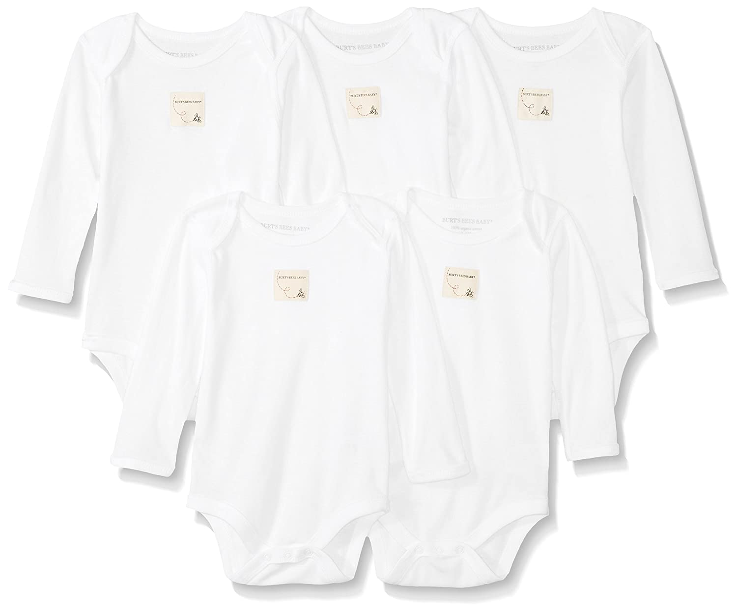 Burt's Bees Baby Boys' Long Sleeve Bodysuits, Set of 5, 100% Organic Cotton,