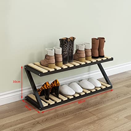 2 Tier Wooden Shoe Storage Rack White Stand For Boots Bedroom Balcony  Entrance Strong And Durable