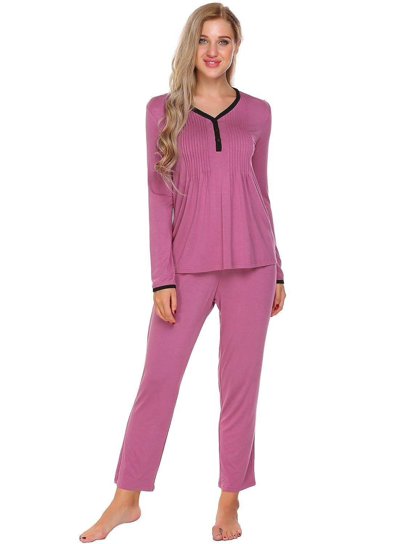 Ekouaer Pajama Set Women's Long Sleeve Soft Sleepwear Button Down Loungewear S-XXL AMK007457