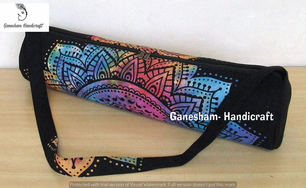 GANESHAM Indian Tapestry Handmade Ethnic Bohemian Gym Exercise Sports Cotton Unisex Cross Body Boho Hobo Full Zip Yoga Mat Carrier Bag With Adjustable Shoulder Strap GANESHAM HANDICRAFTS
