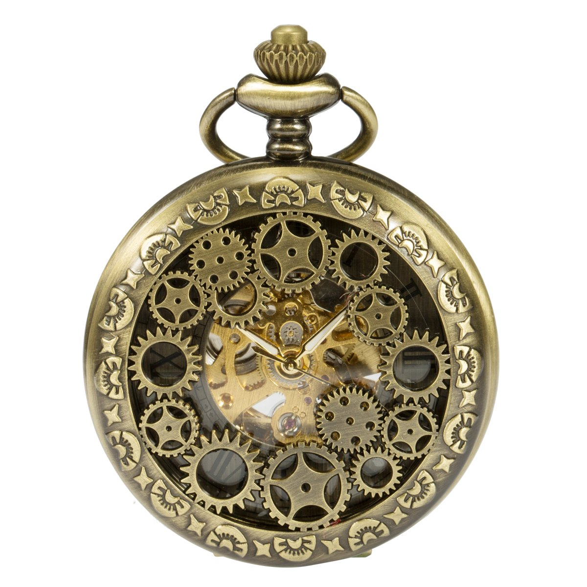 ManChDa Steampunk White Hands Scale Mechanical Skeleton Pocket Watch Hollow Vehicle Wheel Case Automatic