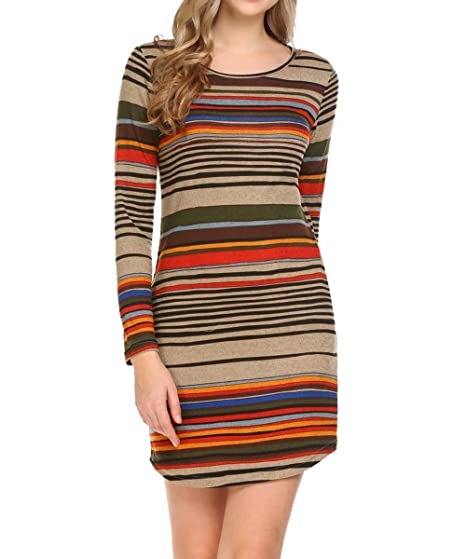 8470ce0798 LuckyMore Womens Long Sleeve T Shirt Dress Color Block Striped Sweater Mini  Dresses With Pockets