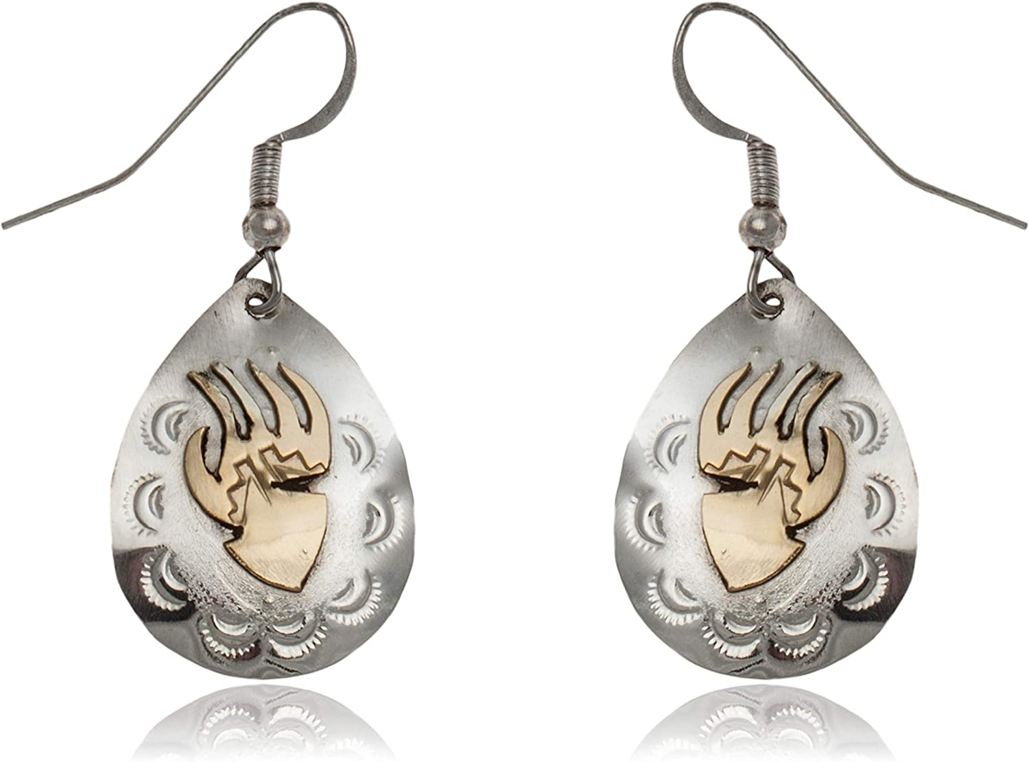 $170Tag 12Ktgf Silver Bear Paw Sonne Certified Navajo Native Dangle Earrings 24469 gemacht durch Loma Siiva