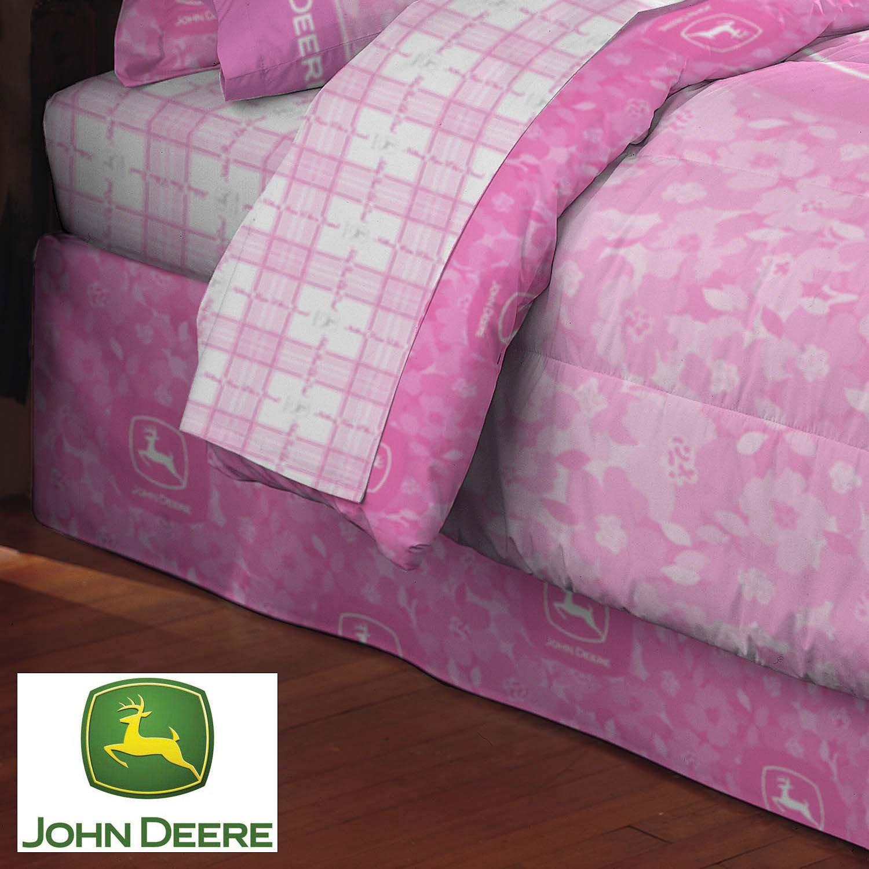 John Deere Pink Camo Bedskirt-Twin Size Springs Industries