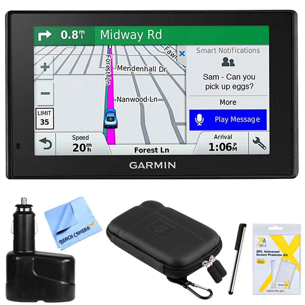 Garmin DriveSmart 51 NA LMT-S Advanced Navigation (010-01680-02) with Smart Features w/Accessories Bundle Includes, Dual 12V Car Charger for GPS, Screen Protectors, Protect & Stow Case Mini + More by Beach Camera