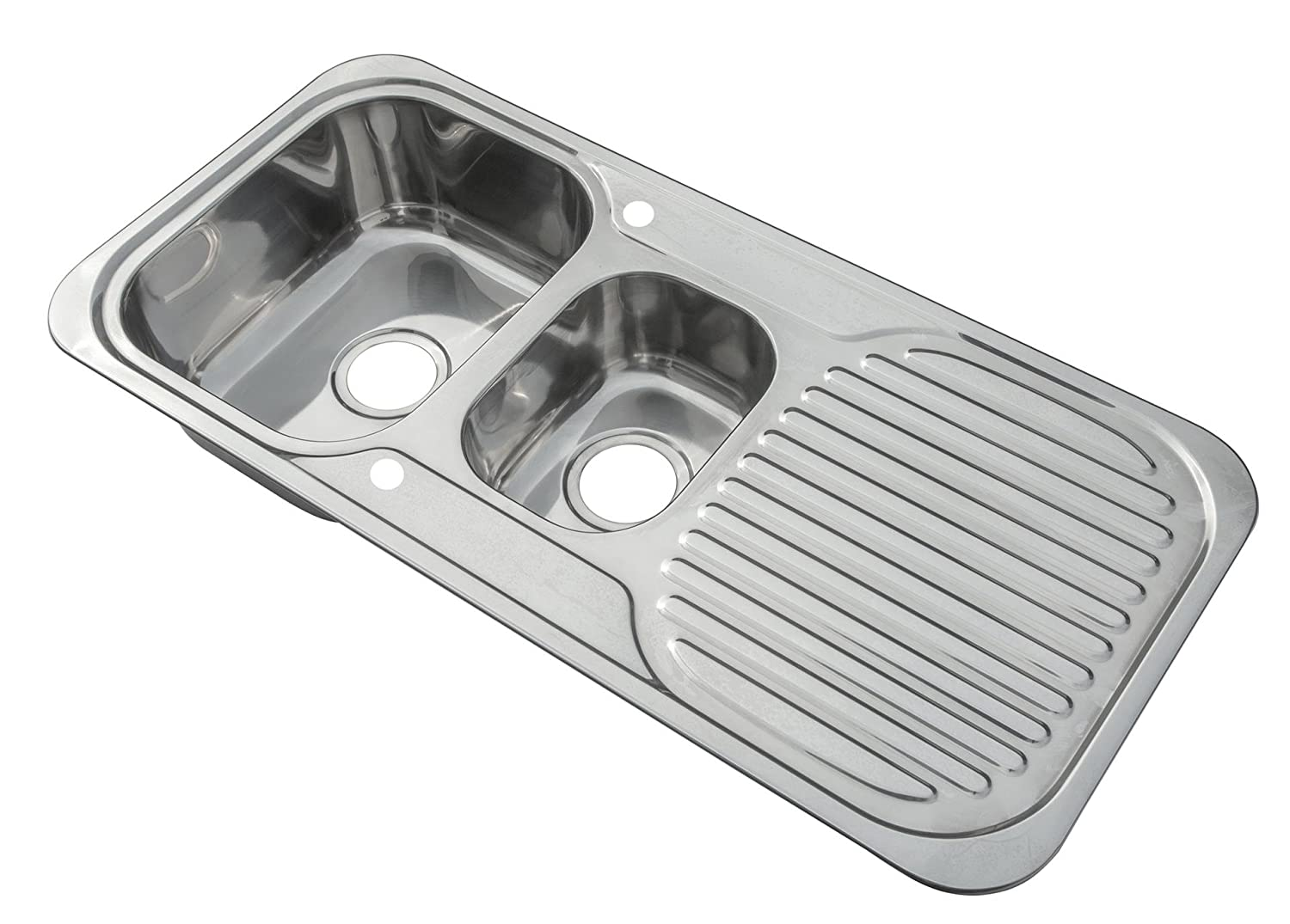 Kitchen Sinks Inset 1.5 Bowl Polished Finish With Drainer And Waste Kit (E01 mr) Grand Taps