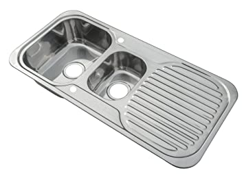 kitchen sinks inset 15 bowl polished finish with drainer and waste kit e01 mr - Kitchen Sink Uk