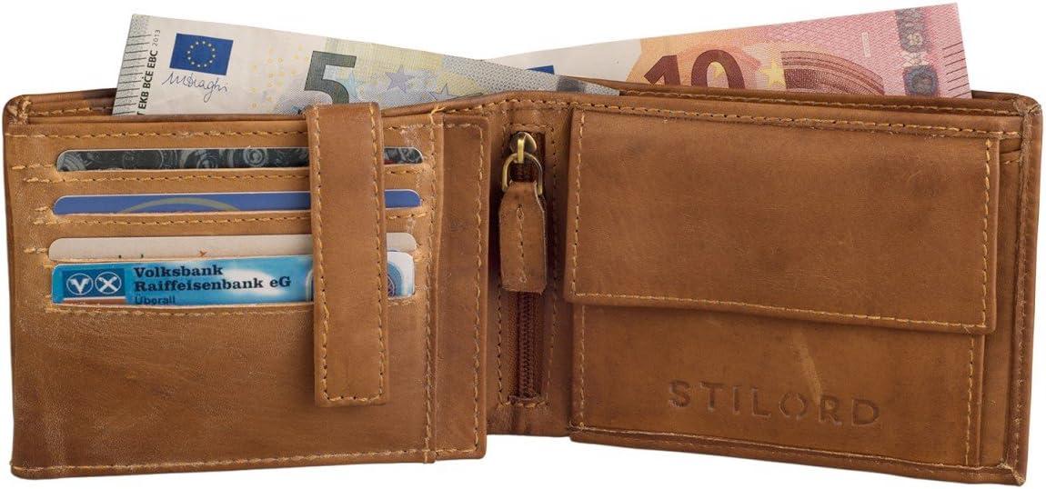 STILORD Portefeuille//Hommes//Cuir Lisse Porte-Monnaie Couleur Cognac /& Marron