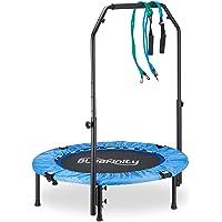 Bluefinity Trampoline met stang, mini-trampoline opvouwbaar, expander & tas, klein, h x b x d: 121 x 102 x 102 cm, blauw…