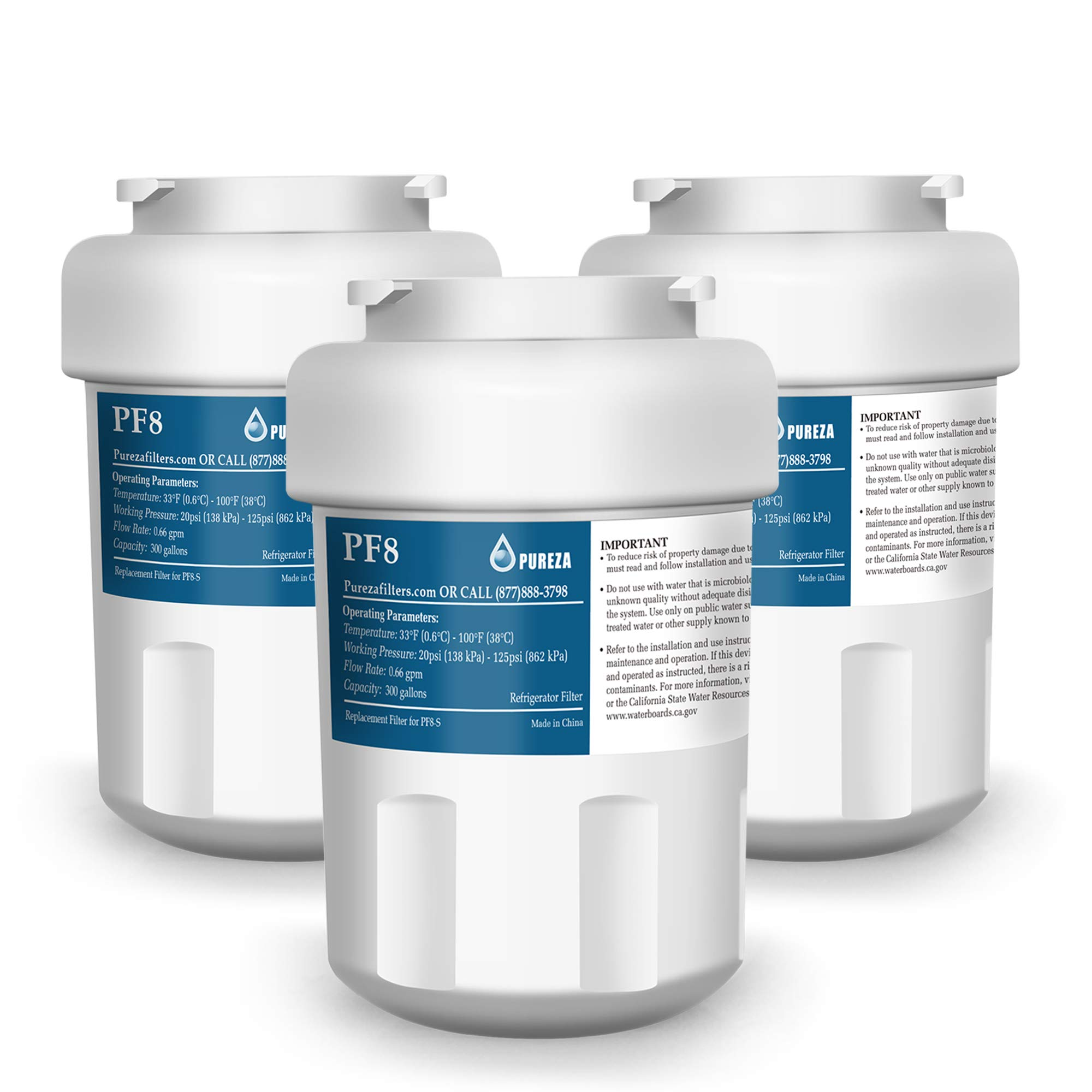 Refrigerator Water Filter Replacement for GE MWF, NSF 42 Certification, SmartWater, MWFA, MWFP, GWF, GWFA, Kenmore 9991, 46-9991, 469991, by Pureza Filter, Pack of 3