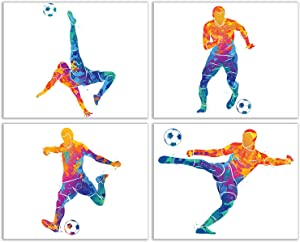 Summit Designs Soccer Bedroom Wall Art Decor Prints - Set of 4 (8x10) Inch Unframed Poster Photos - Kids Gift Idea