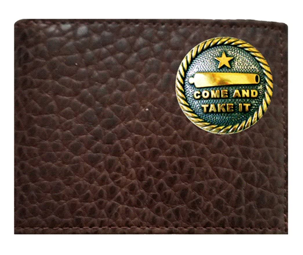 Proudly made in the USA. Custom Come And Take It Concho on a Rugged American Buffalo Chocolate Brown Leather Flip ID Bi-fold Wallet