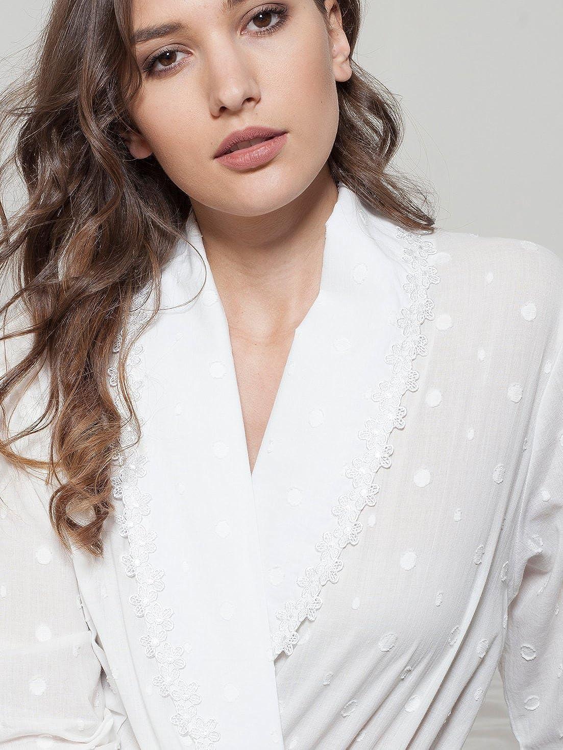 Cottonreal  Noah  100% Cotton Voile Ivory Polka Dot Robe (Size XS-XXL)   Amazon.co.uk  Clothing b2e326127