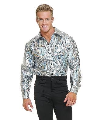 0bad7ec31 Amazon.com: Silver Glitter Disco Shirt Adult Costume: Clothing