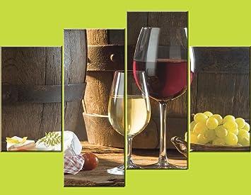 Yixuntong 4pc Nourriture Et Vin Tableau Peinture A L Huile Imprime