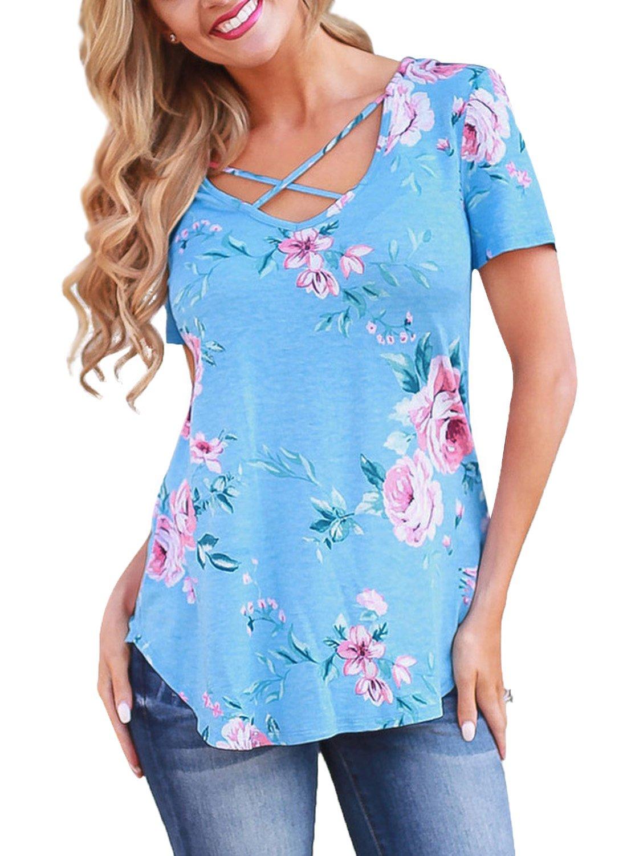 Ranphee Short Sleeve Floral T Shirt Women Criss Cross Front V-Neck Summer Loose Casual Tee Top, XX-Large, Light Blue