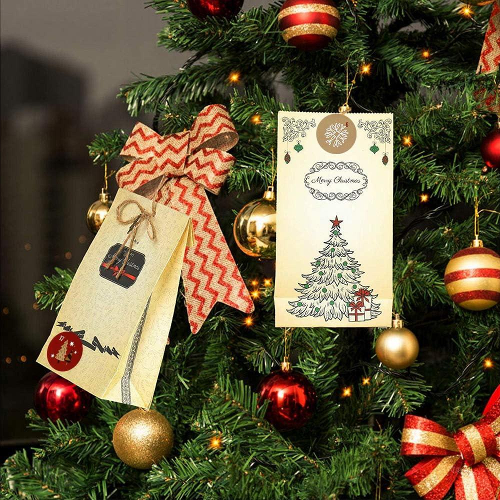 DIY Adventskalender Selber Basteln 24 Kraftpapiert/üten Weihnachten Geschenkt/üten Adventskalender zum Bef/üllen 2020 Papiert/üten mit 24 Zahlen-Aufklebern Adventskalender Basteln f/ür M/änner Kinder