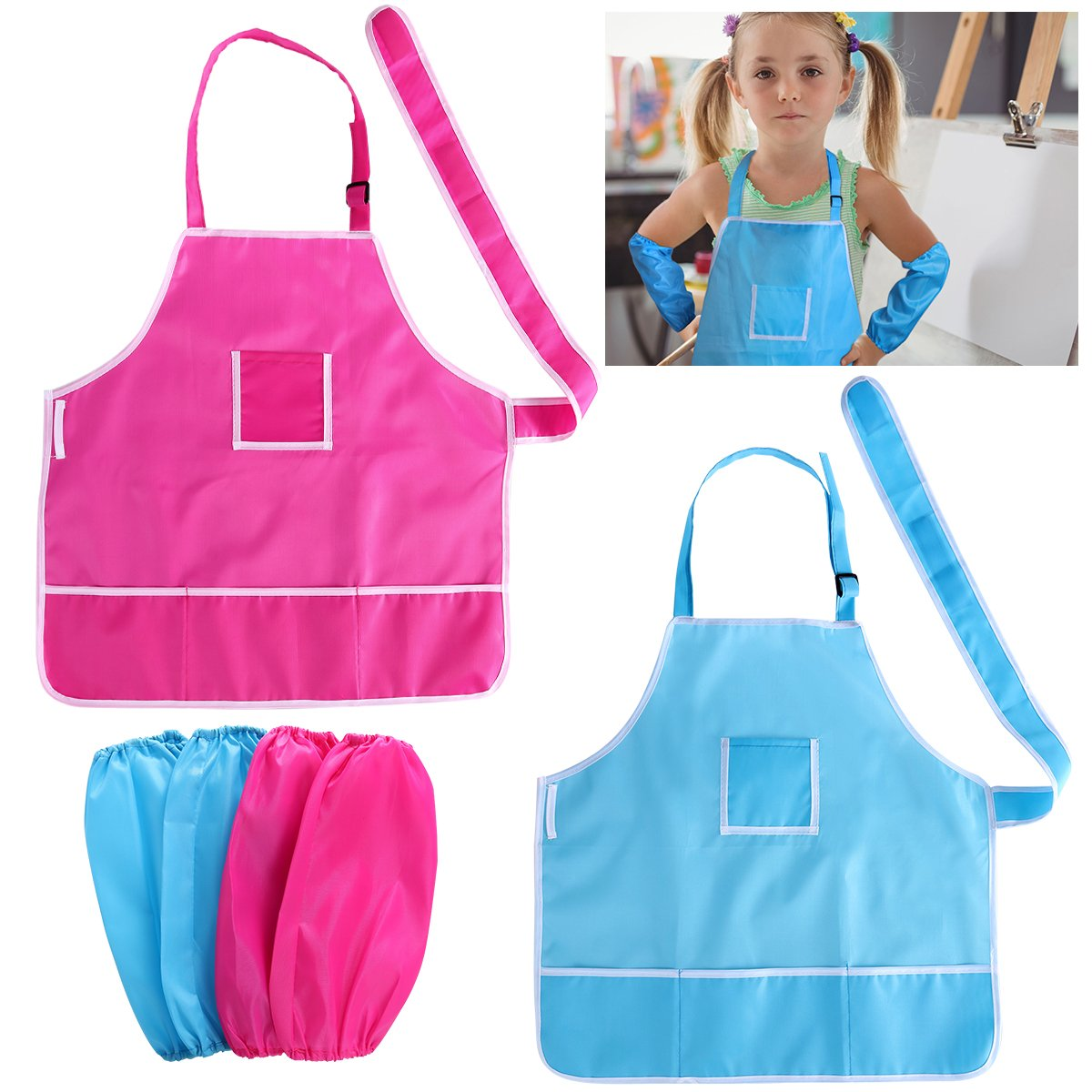 NUOLUX Pack of 2 Kids Waterproof Art Aprons and Oversleeves Set Children Painting Aprons with Pockets (Blue and Rose Red)