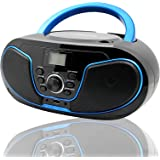 LONPOO Stereo CD Boombox Portable Bluetooth Digital Tuner FM Radio CD Player with USB Playback,Bluetooth-in,AUX Input and 3.5