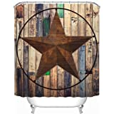 "Uphome Rustic Vintage Star on Wooden Bathroom Shower Curtains - Brown Unique Custom Polyester Fabric Bath Decorative Curtain (60"" W x 72"" H)"
