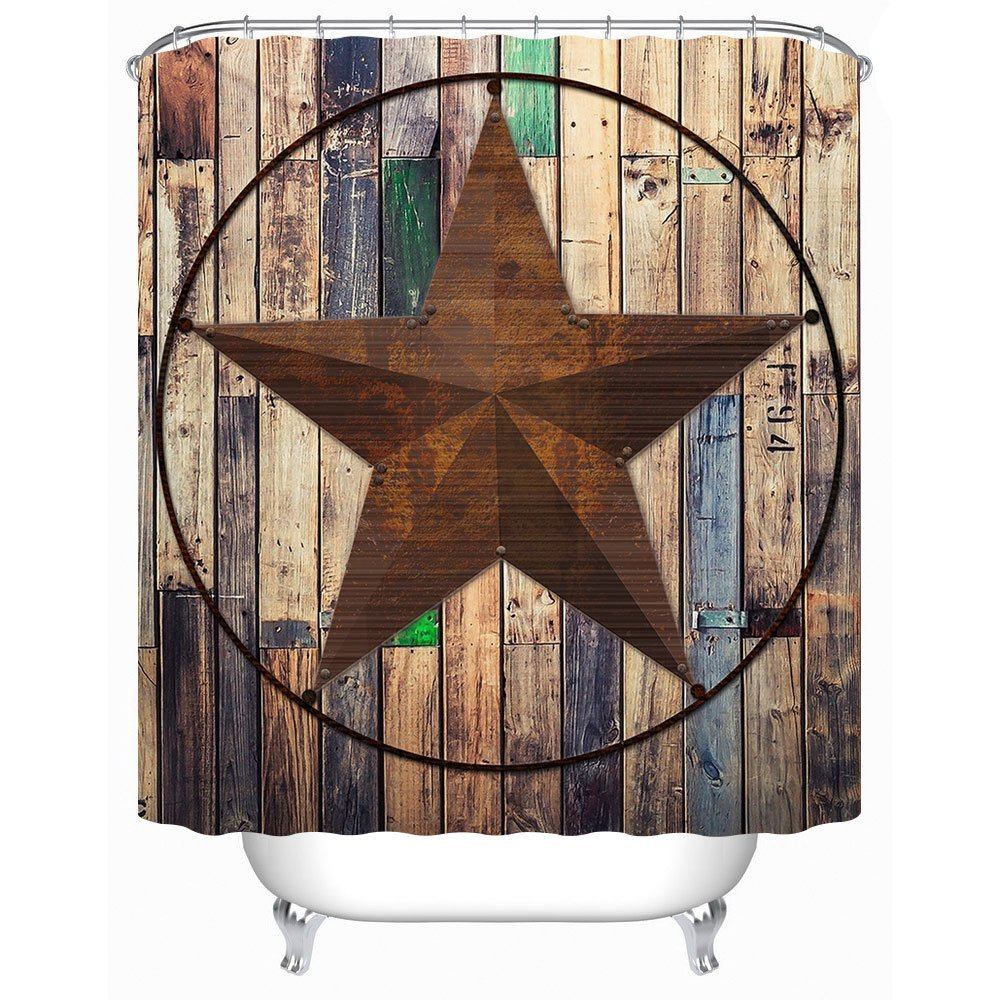 Uphome Rustic Vintage Star on Wooden Bathroom Shower Curtains - Brown Unique Custom Polyester Fabric Bath Decorative Curtain (60