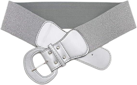 Silver Metallic Big Buckle Stretch Belt
