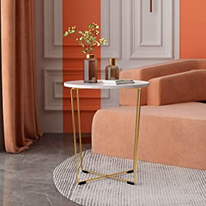 AOSAN Modern Round Coffee Table, Easy Assembly High End Table, Accent Side Tea Table with Gold Metal Frame for Living Room, Dining Room