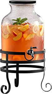 Elle Decor Beverage Dispenser Cold Drink Dispenser w/ 2.7 Gallon Capacity Glass Jug, Wood Lid & Leak-Proof Acrylic Spigot, Stand, Great for Parties, Weddings & More