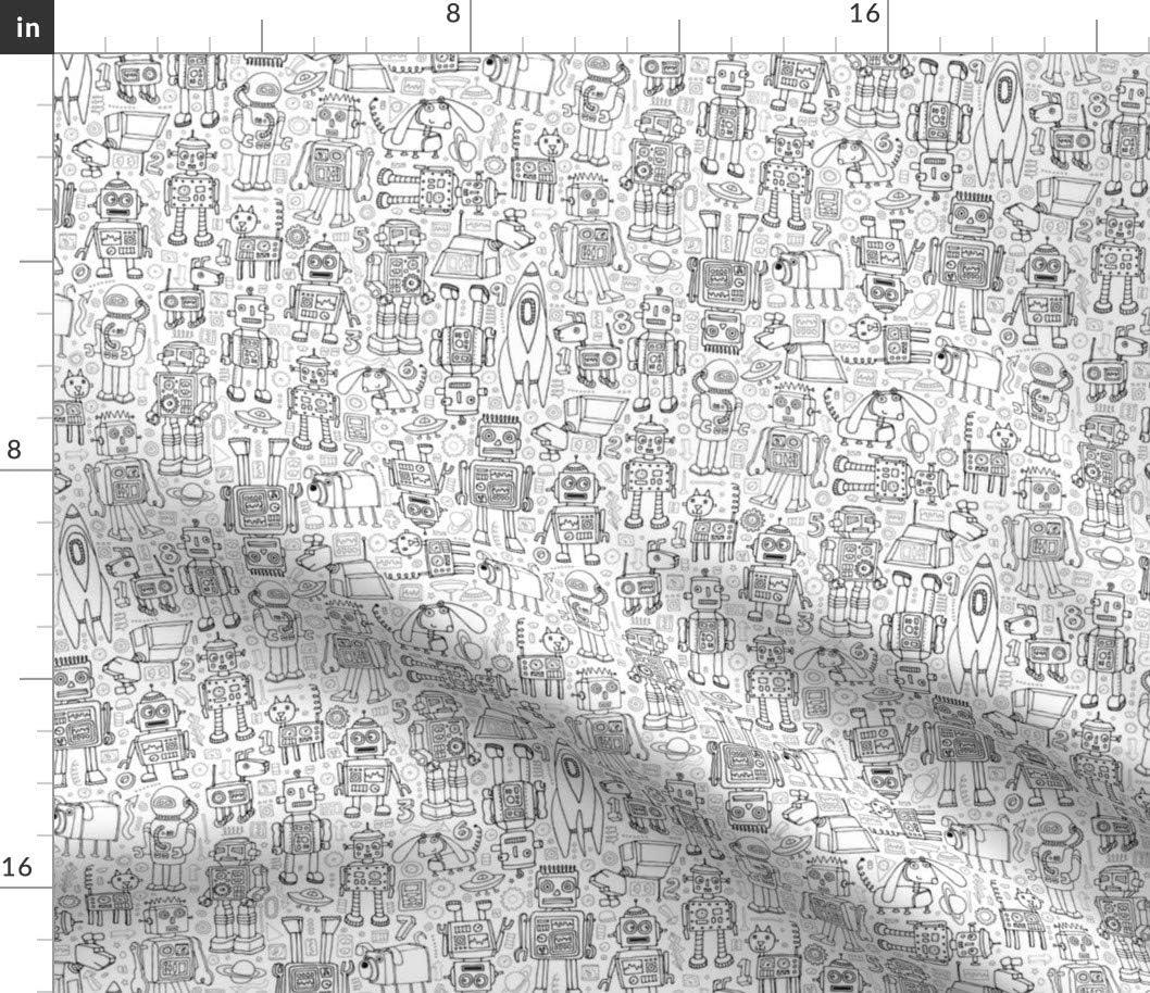 Amazon.com: Spoonflower Fabric - Robot Pattern Black White Robots
