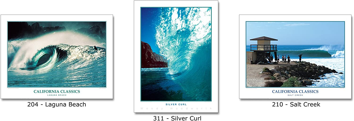 California Surfing BLUE CURL Surf POSTER Print by Creation Captured