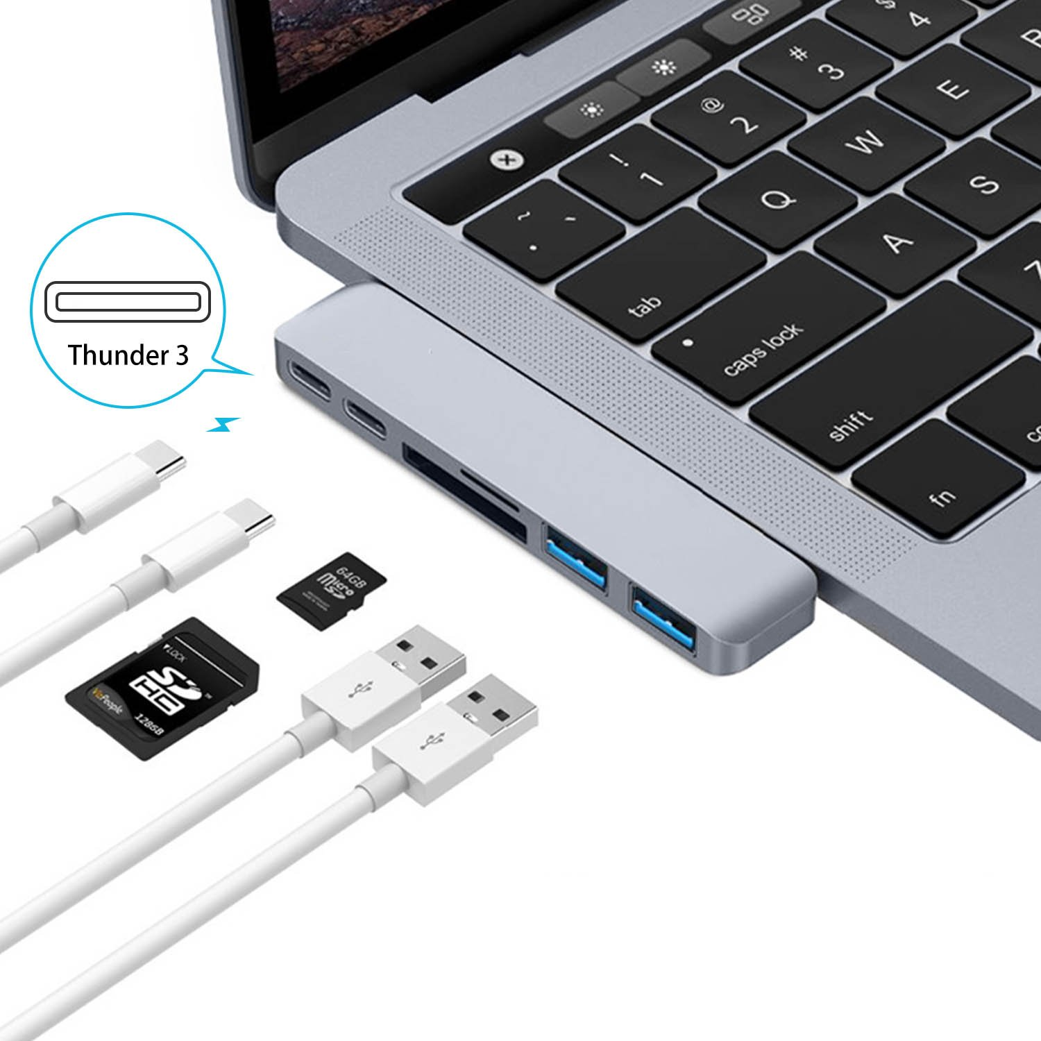 """Smart USB C Hub 6 in1 for MacBook Pro 13""""/15"""" with one Type C Charging port and one Thunderbolt3 port,2xUSB3.0,SD/Micro SD Card Reader – Silver"""
