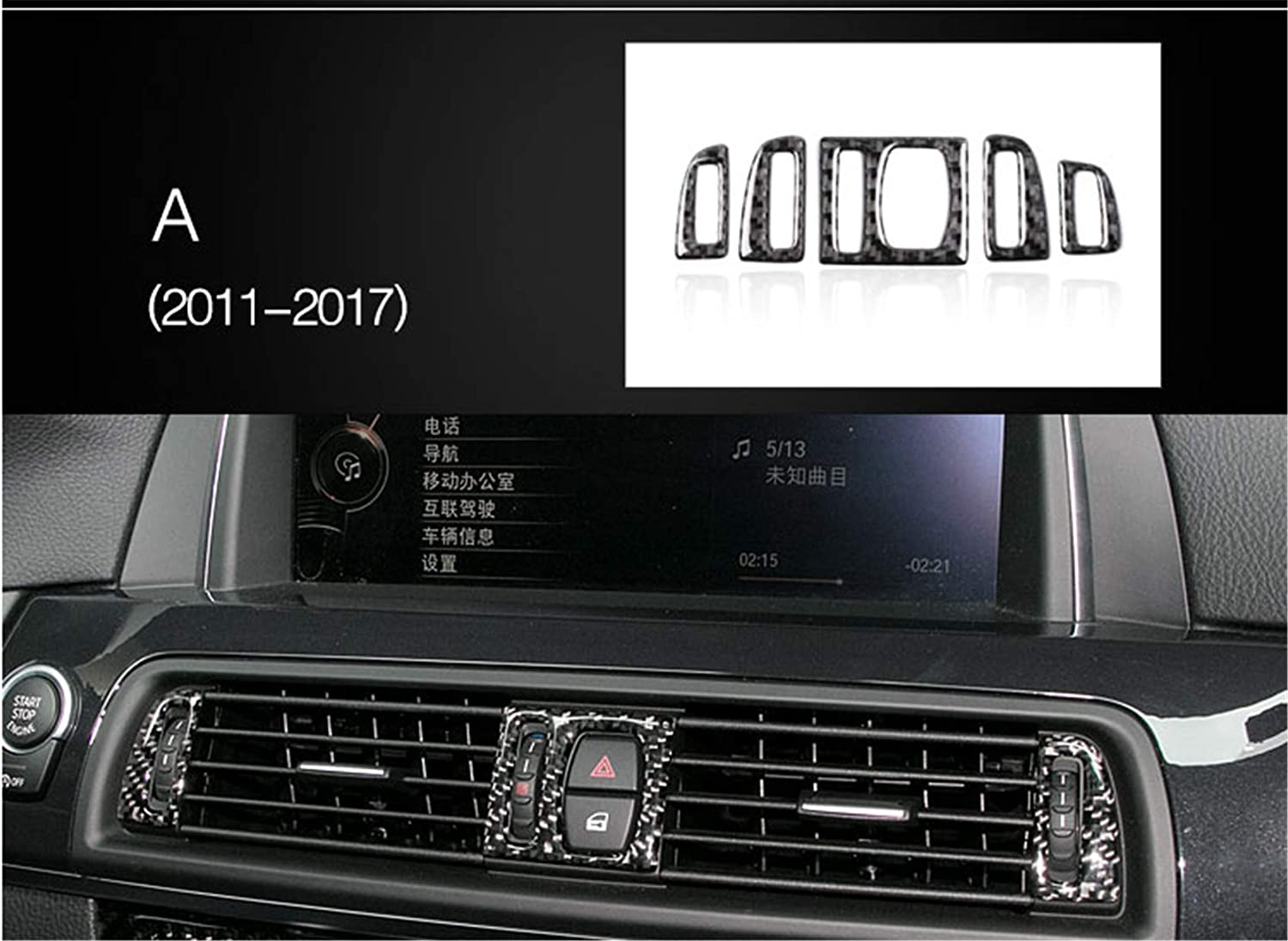 Carbon Fiber Air Conditioning AC Air Vent Outer Panel Frame Decal Cover Trim for BMW 5 Series 6th F10 F11 F07 F18 520 523 525 528 530 535 2010-2016 5ZJ Classic