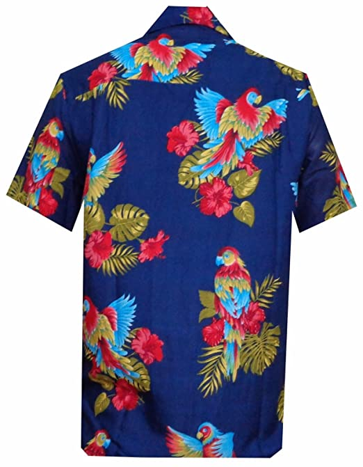 93ba525342d9f Hawaiian Shirts Mens Parrot Beach Aloha Party Camp at Amazon Men's Clothing  store: