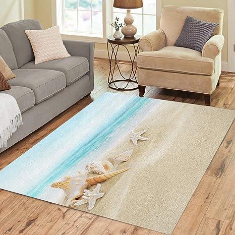 Pinbeam Area Rug Blue Sand Shells On Sandy Beach Summer Sea Home Decor Floor Rug 3 X 5 Carpet Amazon Ca Home Kitchen