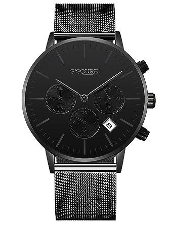 Armbanduhr damen schwarz  Alienwork All Black Quarz Armbanduhr Multi-funktion Uhr Herren ...