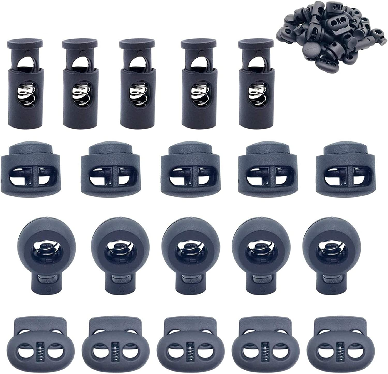 4 Types End Spring Toggle Stopper Slider for Drawstring Backpack Rucksack Craft Supplies Sing-Hole and Double-Hole,Black ACKLLR 20 Pcs Plastic Cord Locks