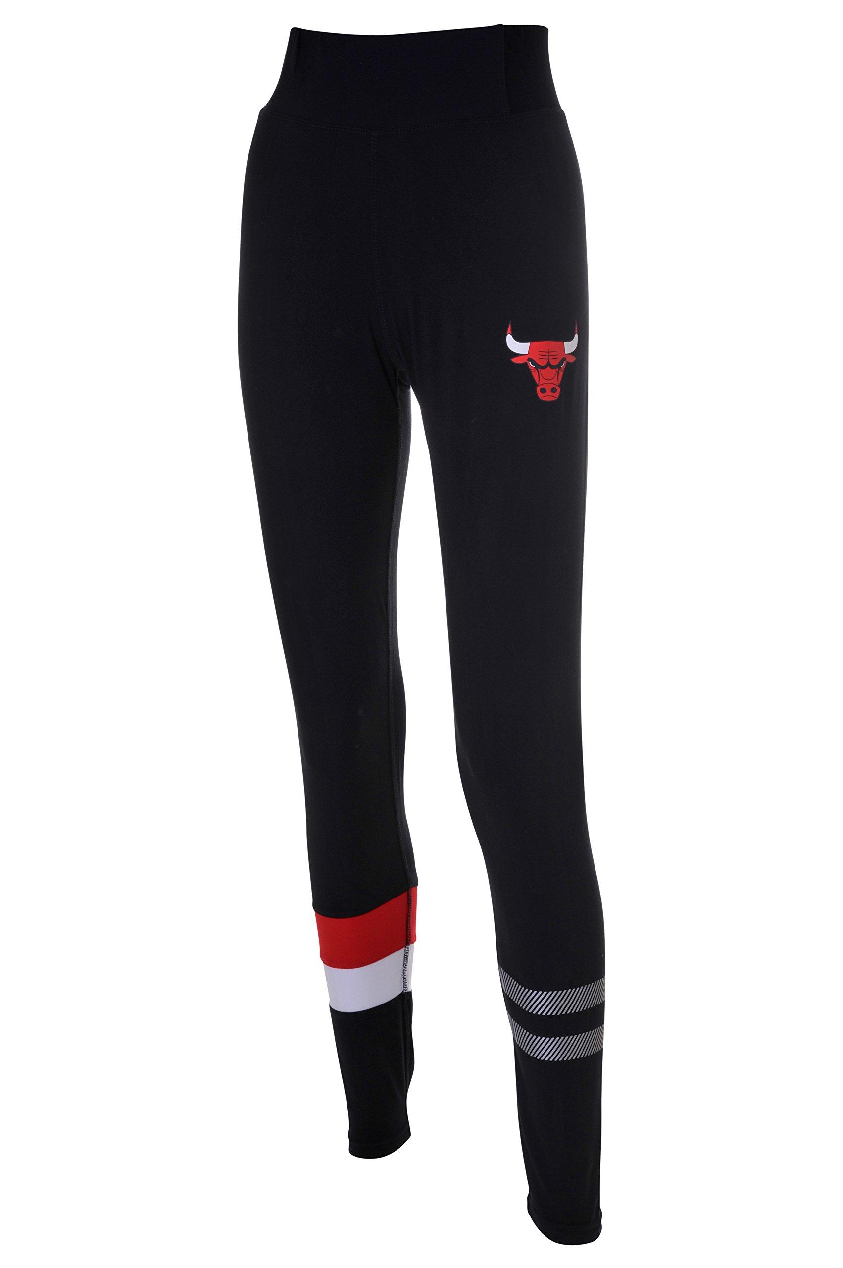 NBA Chicago Bulls Women's Leggings Perimeter Fitness Sport Yoga Pants, X-Large, Black