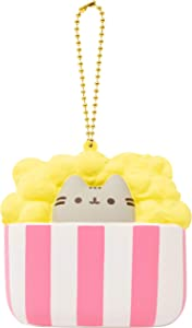 Hamee Pusheen Tabby Cat Junk Food Slow Rising Squishy Toy [Square Series] (Popcorn) [Christmas Tree Ornaments, Gift Box, Party Favors, Gift Basket Filler, Stress Relief Toys]