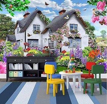 3D hermosa casa jardín perro naturaleza paisaje cartel decoración de la pared pintura niños habitación dormitorio fondo foto papel pintado mural-150 * 105 cm: Amazon.es: Bricolaje y herramientas