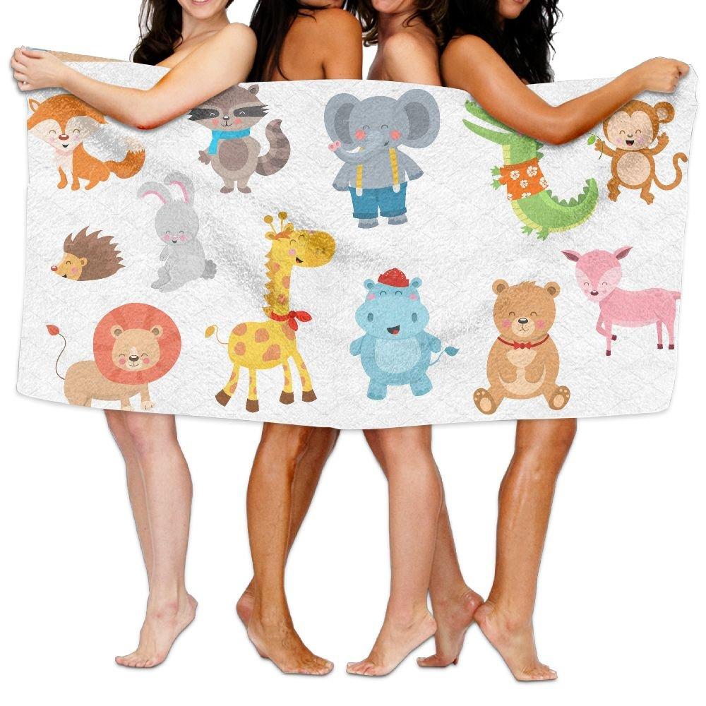PengMin Cartoon Animals Premium 100% Polyester Large Bath Towel, Pool And Bath Towel (80'' X 130'') Natural, Soft, Quick Drying
