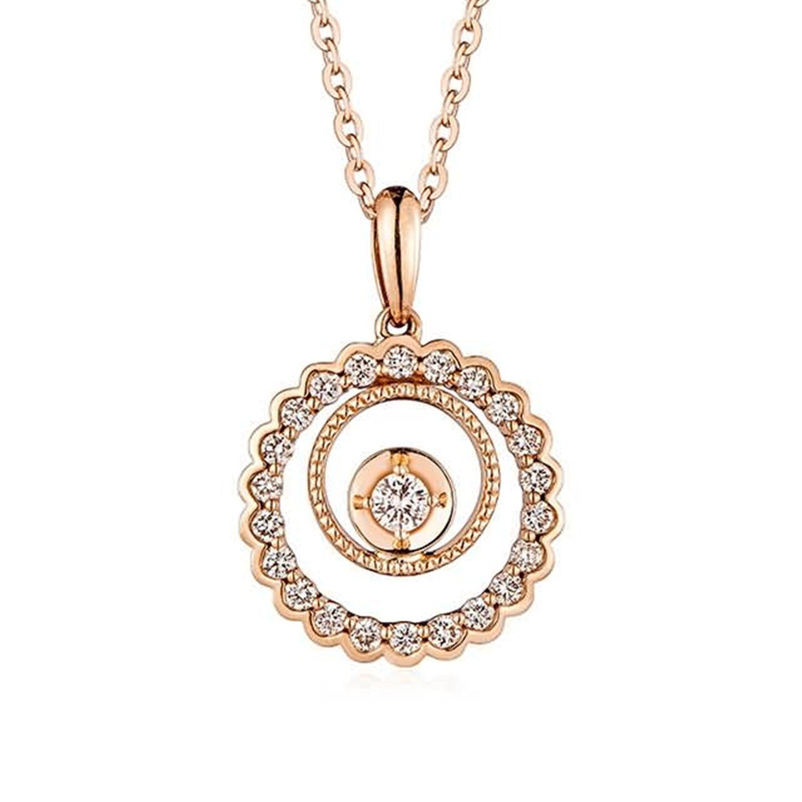 Adisaer 18k(750) Rose Gold Women Necklace 1.41g Double Round Pendant Round Diamond Wedding Necklace