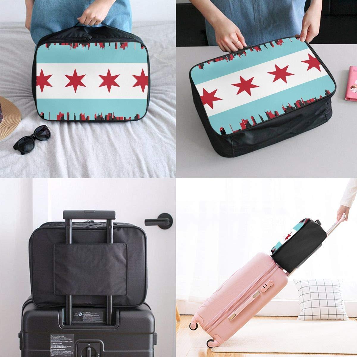 Chicago Flag With City Luggage Bag Capacity Portable Large Travel Duffel Bag Travel Makeup Bag