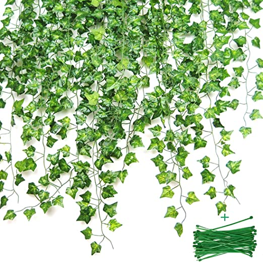 Hiedra artificial decorativa, hiedra verde hojas salita guirnalda ...