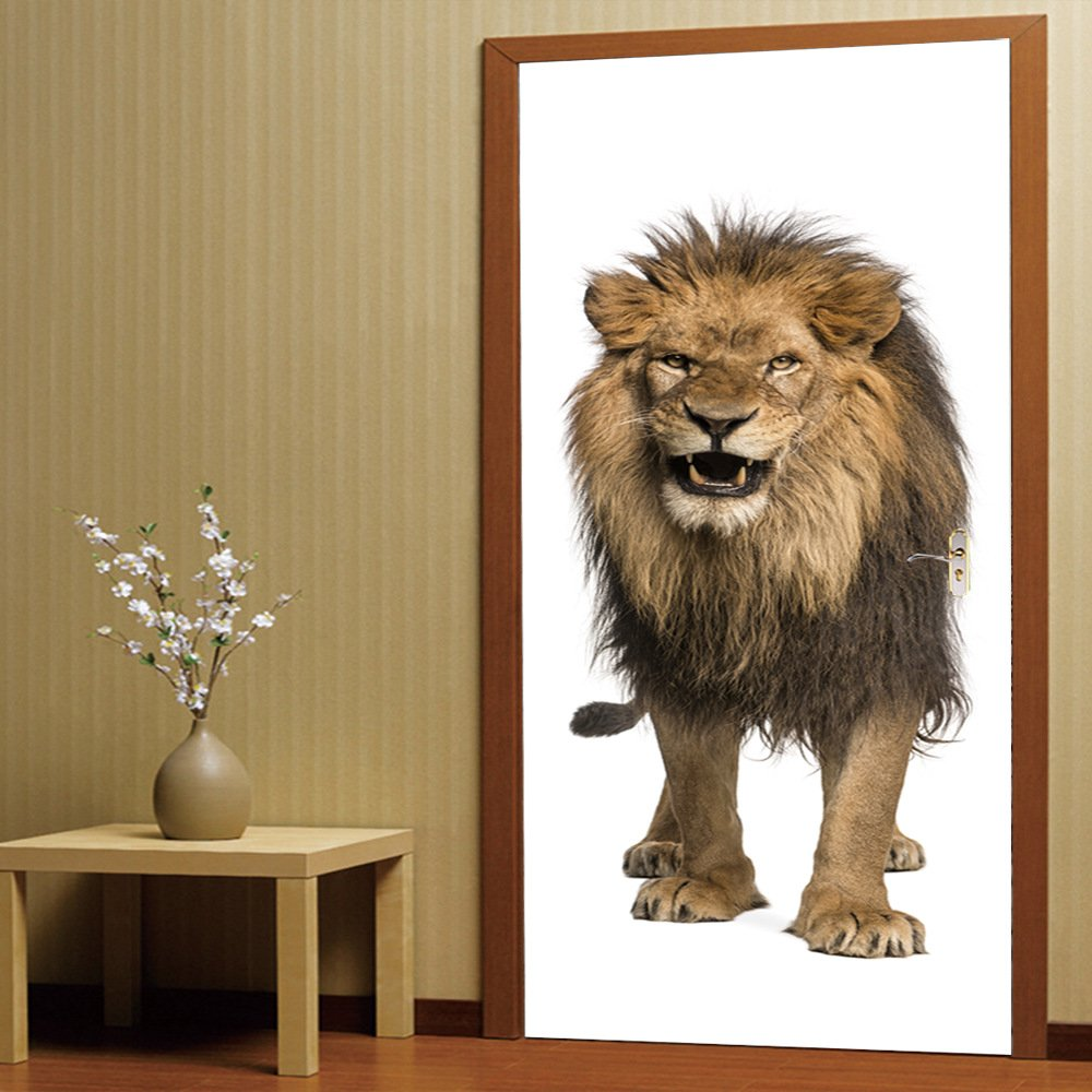 3D Lion Door Sticker 200cm Self-Adhesive Removable Door Art Murals Home Decoration PVC Sticker for Bathroom Bedroom Toilet Kindergarten and Children's Room MT-14 ( Color : Multi-colored , Size : M ) None