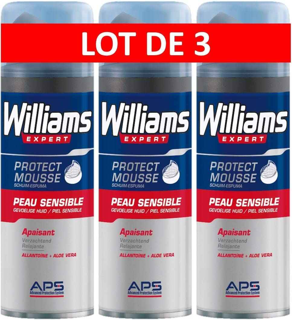 Williams Espuma Afeitar Piel Sensible - 3 Recipientes de 200 ml ...