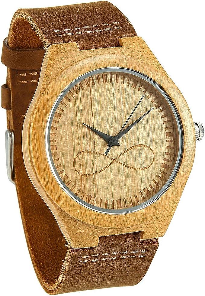 Reloj de Madera de Bambú con el símbolo de infinito