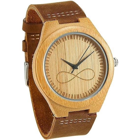 WONBEE Relojes de madera de bambú infinito Design con correa de piel de  vaca Unisex  Amazon.es  Relojes 063648536646