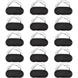 Hicarer 15 Pack Eye Mask Sleeping Blindfold Soft Eye Shade Cover with Nose Pad and Adjustable strap for Travel Sleep, Black